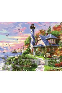 GX33476/Картина по номерам на подрамнике Маяк у моря 40х5040х50