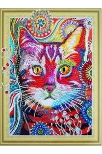 FM006 Кот в одуванчиках- алмазная картина с фигурными стразами