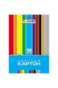 Набор картона цветной 10л 10 цв. А4ф в папке-Creative Set-